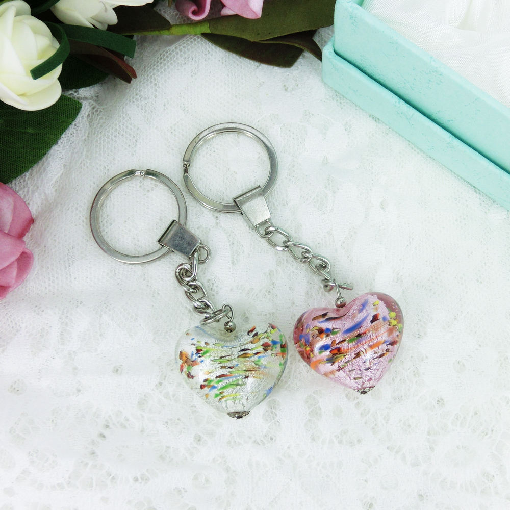 Heart Shape Hand Blown Glass Wedding Favors Gifts Murano Glass Keychain Wedding Souvenirs Guests