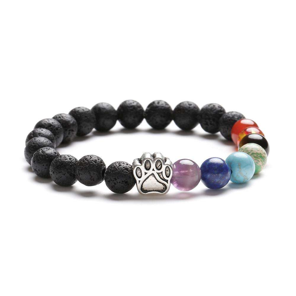 7 Chakra Stone Beads With Dog Paw Charm and Black Lava Rock Beads Bracelet