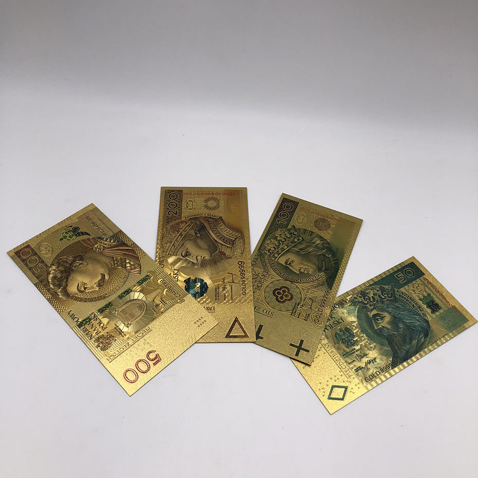 Colored Gold Foil Polish Banknote Set 50 100 200 500 PLN for partriotism crafts collection