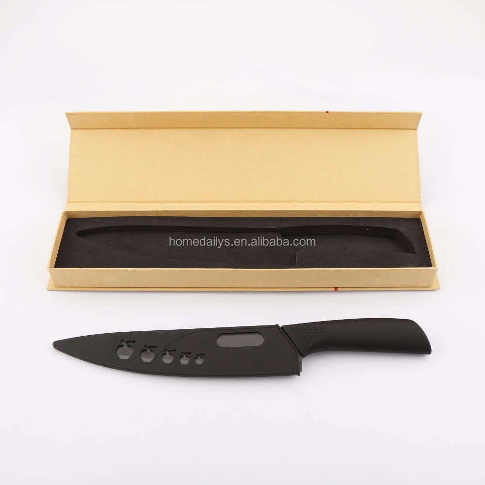 8 inch Matte Surface Ceramic Chef Knife with Black Zirconium Blade Black Ergonomic Handle with Sheath