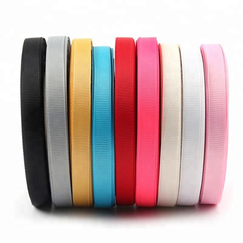 Hot Sale Colorful Solid Printed Stretch Grosgrain Ribbon