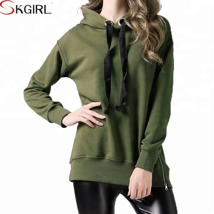 2018 Winter fleece pullover long hooded front pockets oversize hoodies sweatshirts with side zipper