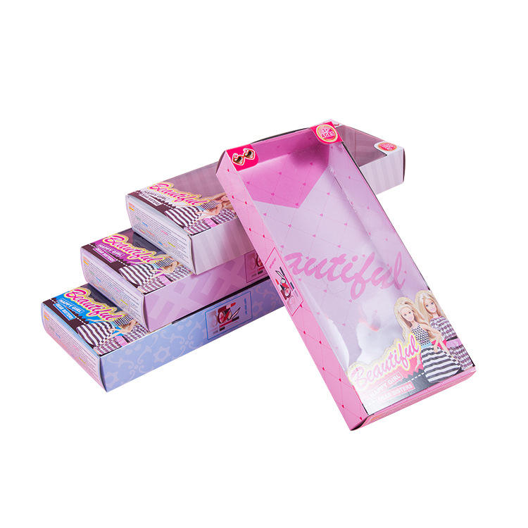 Girl's Toy Packaging Carton Doll Gift Paper Box With PVC Window
