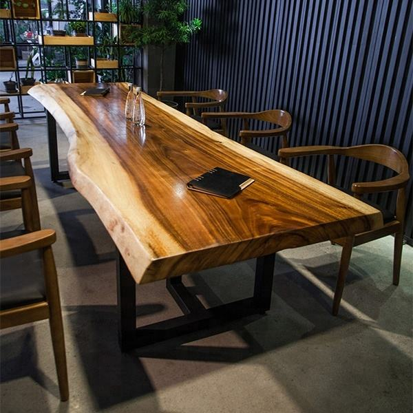 China gold supplier good quality live edge acacia walnut slabs wood rustic dining table top