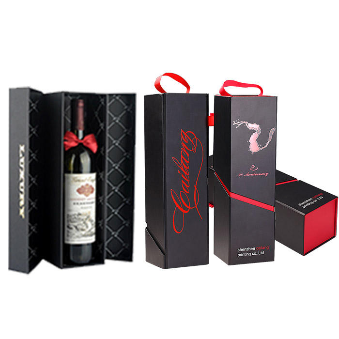 Luxury Customized Display Foldable Rigid folding black gift wine paper box packaging with bottle