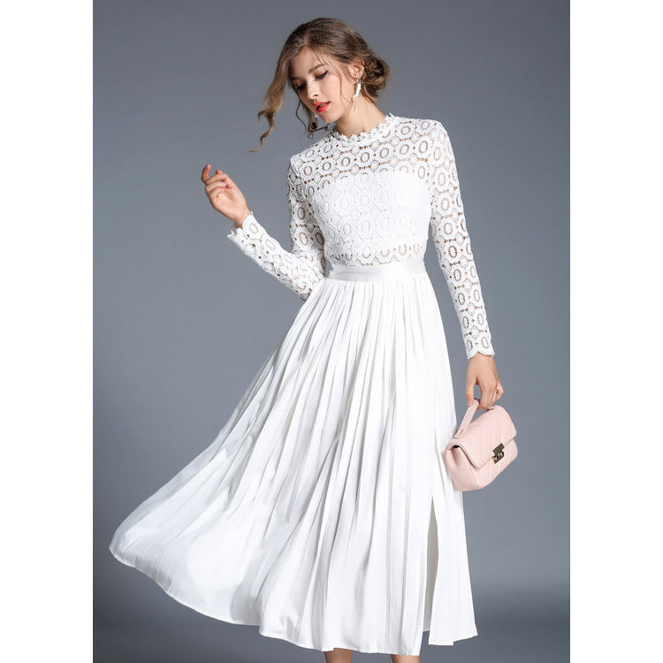 women elegant ceremony white lace pleated dress