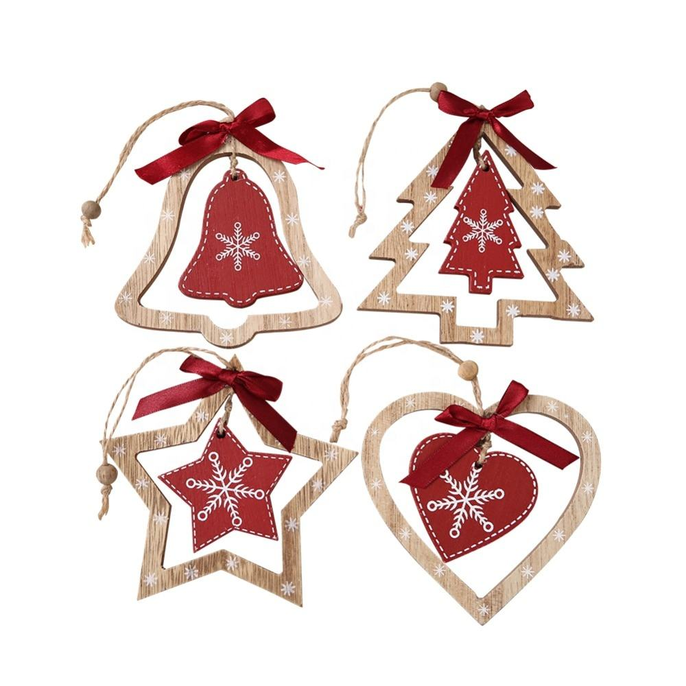 Wooden Star Heart Tree and Bell Christmas Hanging Ornaments Christmas Decorations 4Pcs Assortment