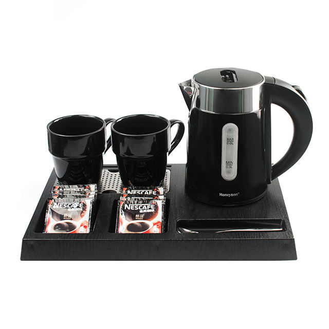 Honeyson hotel supplies mini electric kettle with welcome tray set RTS