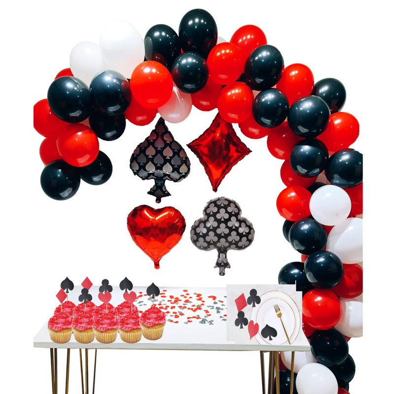 Las Vegas Casino Theme Party Decoration Set Black Red Latex Balloon Casino Night Poker Event Casino Birthday Decoration