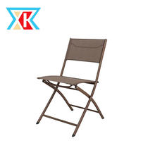 Iron Sling Mesh Fabric Folding Armless Chair