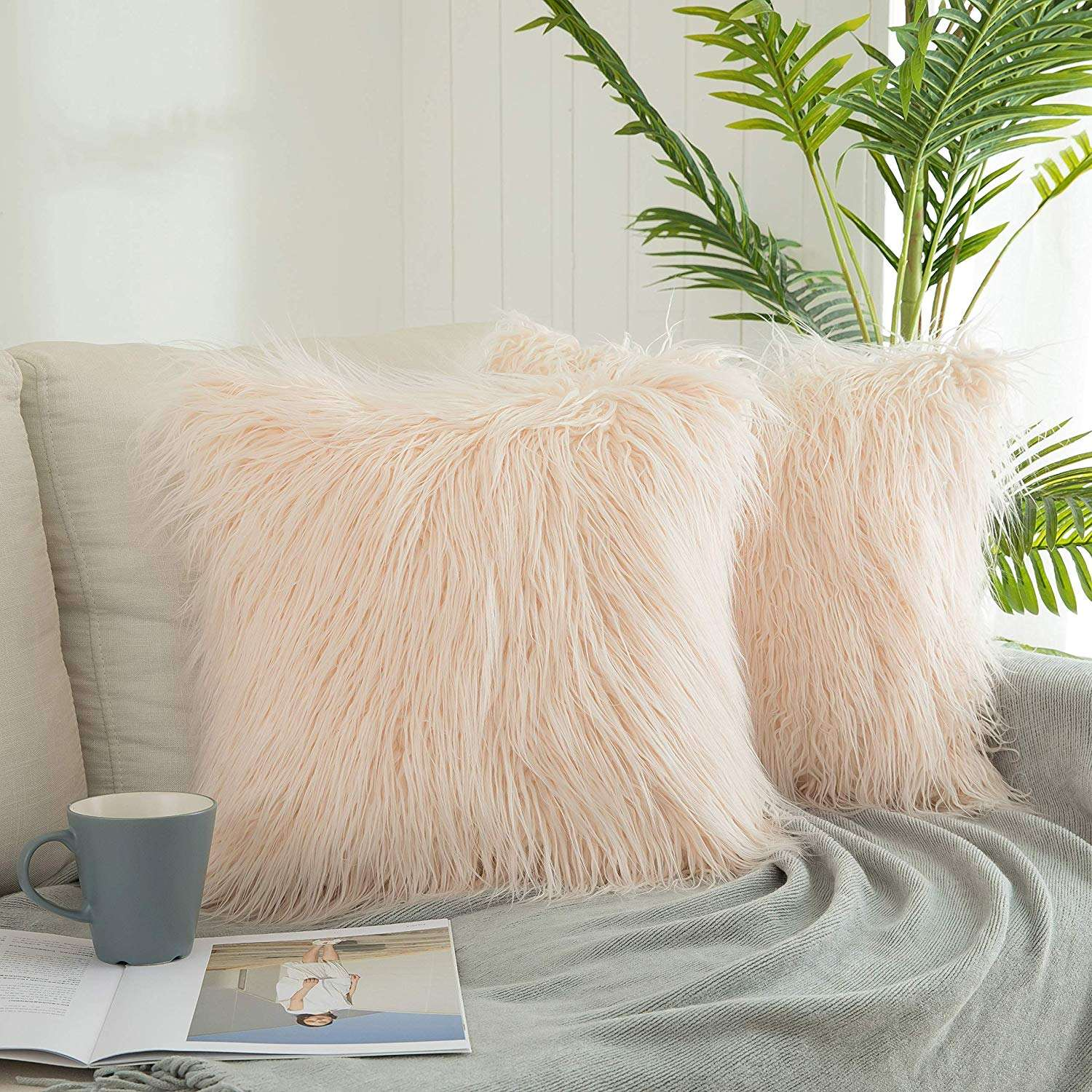 New Luxury Series Merino Style Off-White Fur Throw Pillow Case Cushion Cover, Pillow Cover