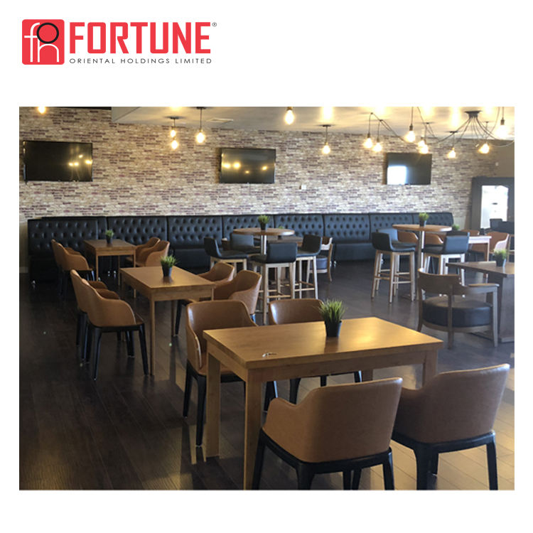 Restaurant interior design round wood table coffee booth chair seating to USA