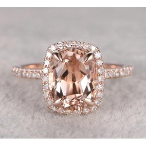 Fashion 18k Rose Gold Plated Oval Cut Jewelry Design Champagne Gemstone Engagement Ladies Ring