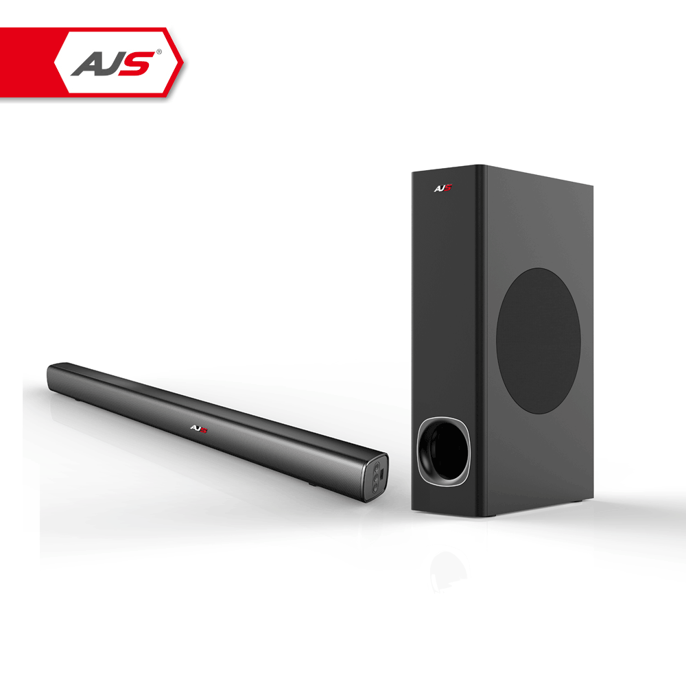 AJS Home theatre system BT sound bar with wired or wireless subwoofer