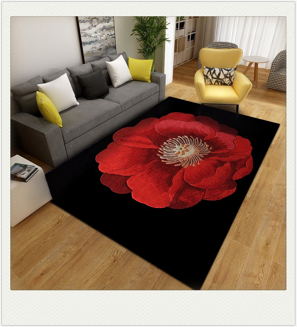 Polyester modern design printed living room carpet