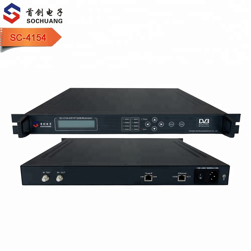 SC-4154 catv hotel solution system dvb headend equipment 4in1 ip qam modulator ip to rf