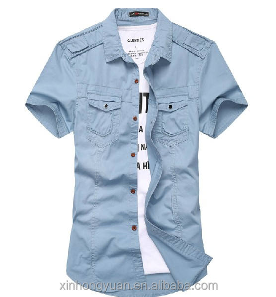 Blue button polo collar man casual life military shirts in origin factory