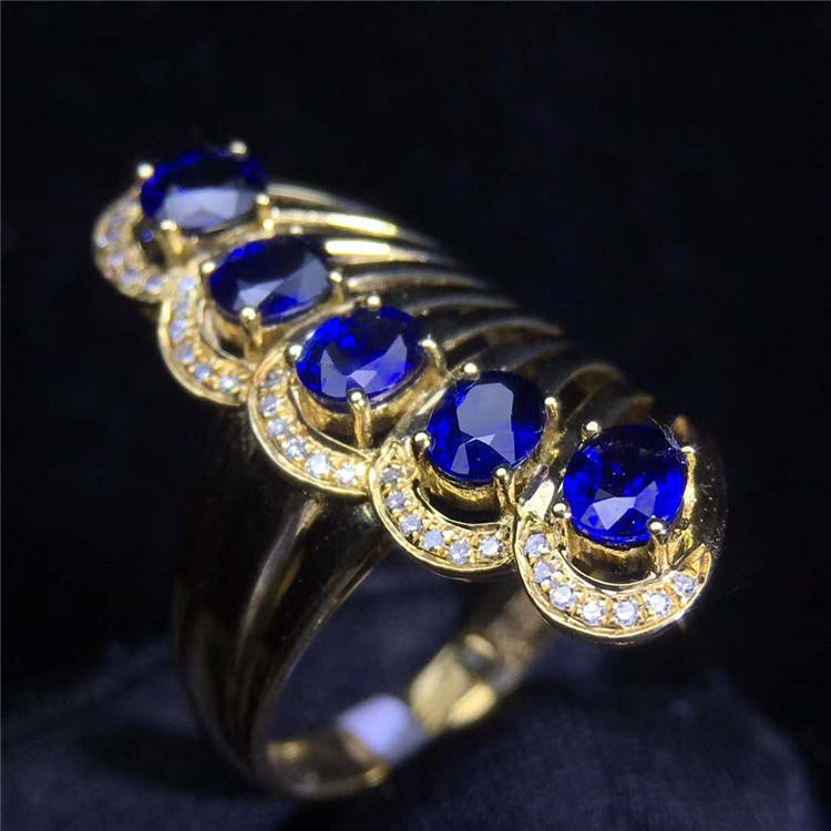 18k white gold South Africa real diamond 1.75ct natural blue sapphire fashionable peacock tail ring for women