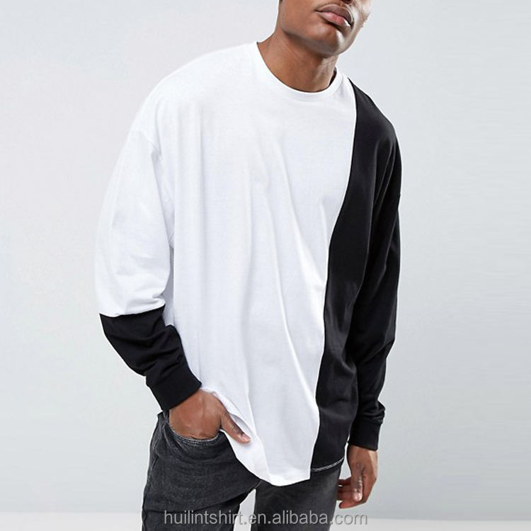 Long Sleeve Crew Neck Tee Men's Plain Men Two Tone Colour Block Custom T Shirt