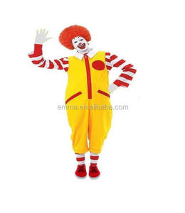Dewasa Ronald Badut Merah Kuning Fancy Dress Makanan Mcdonald Kostum SC5309