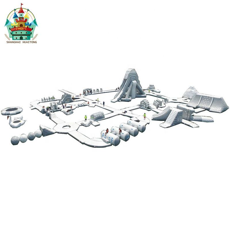 grey and white airclosed sealed inflatable water park inflatable floating island water park design