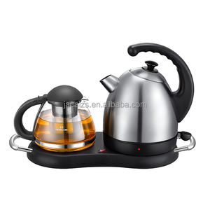 1.7L Electric stainless steel cordless kettle tea set with 0.8L glass teapot stainer keep warm