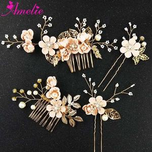 Wedding Bridal Hair Comb and Hairpin Enchanted Flower Charm Accessories Sweet Girl Headpiece Black Friday Idea