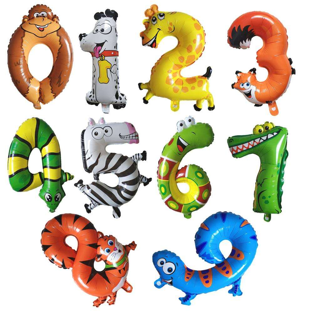 New Arrival 16 Inches Animal Helium Number Balloon Cartoon 0-9 Inflatable Foil Balloons For Birthday Party