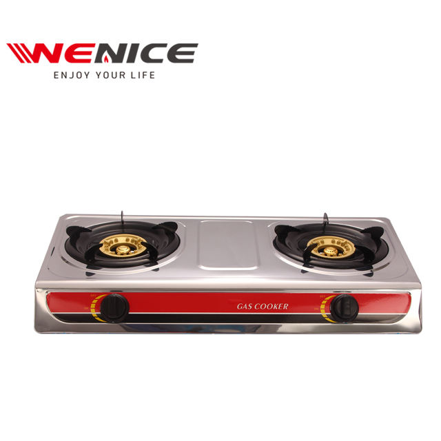 double gas stove with stainless steel panel