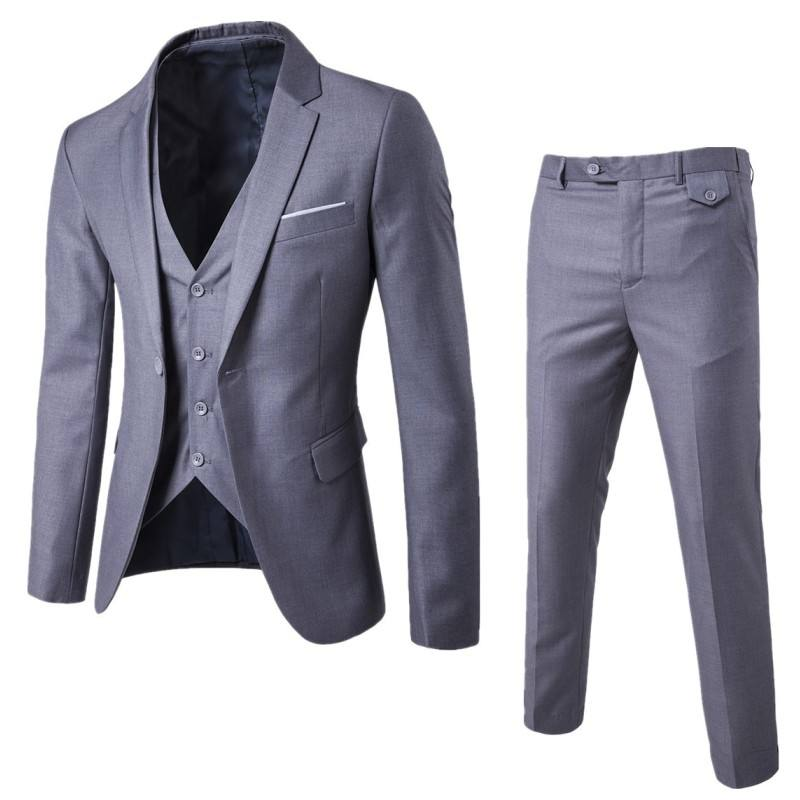 9 Color S-6XL (jacket+pant+vest) Men's Wedding Suit Luxury Slim Fit Blazers Formal Party Wear Business Casual 3 Piece Set EXF001