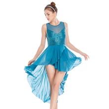 2020 Stunning Atmosphere Lyrical Dress Sequins Leotard Dance Costume Dress Dance Performance Wear for Teen Girls Women