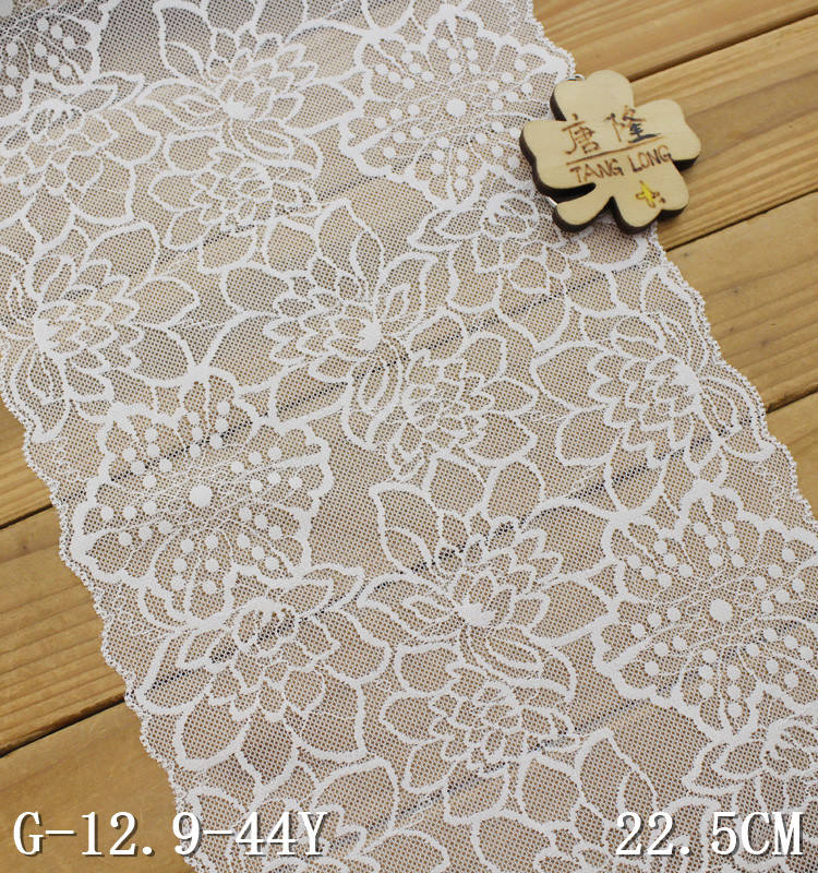 Putih Renda Trim 22.5 Cm Bridal Renda Bahan