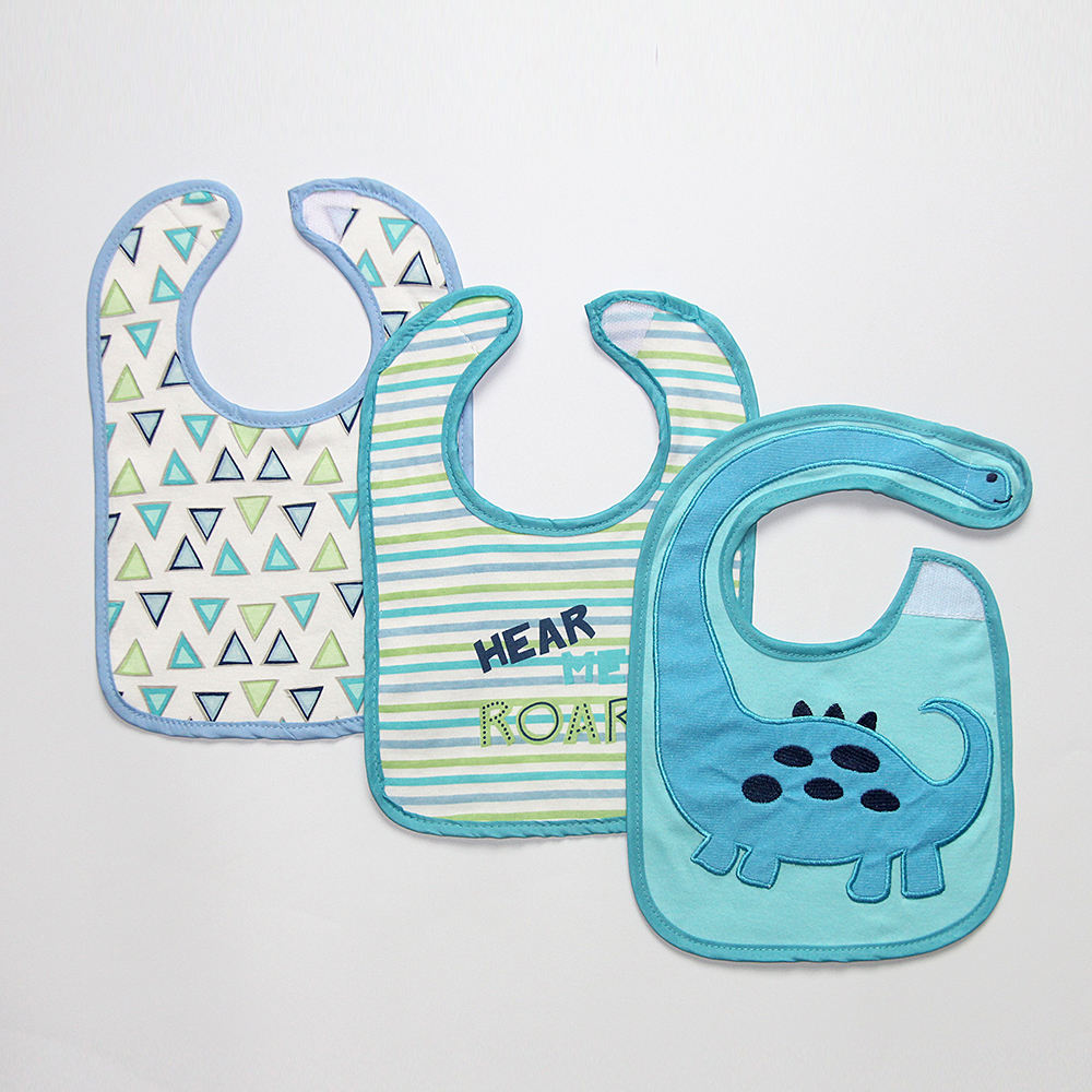 animal pattern embroidery U shape baby bibs cotton