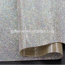 Fashion bling bling  24*40cm AB color crystal mesh roll hot fix rhinestone sheet decoration
