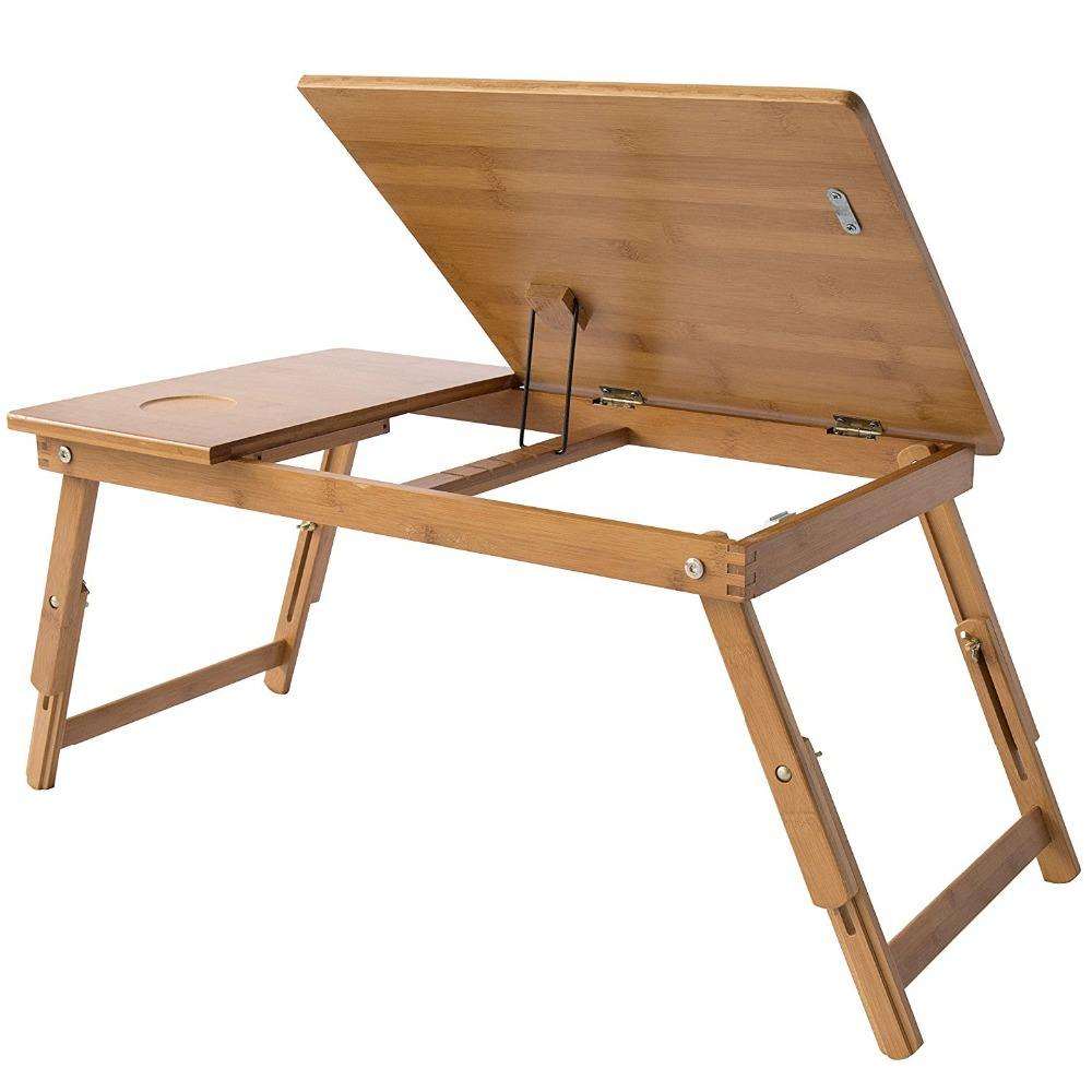 Adjustable Laptop Desk Super Top Laptop Table 100% Bamboo Desk Foldable Breakfast Serving Bed Tray