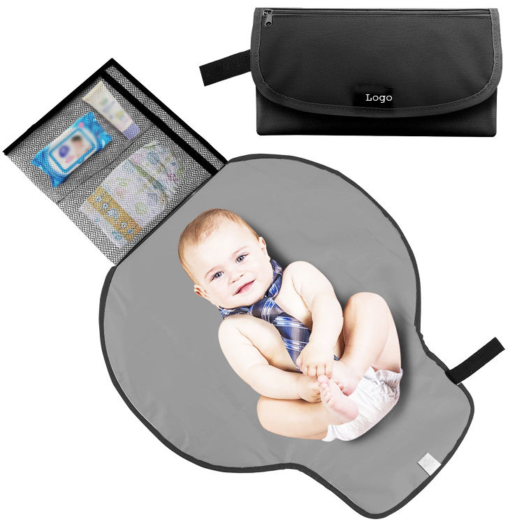 Black Waterproof Folded Baby Carrying Bag Portable Diaper Changing Pad