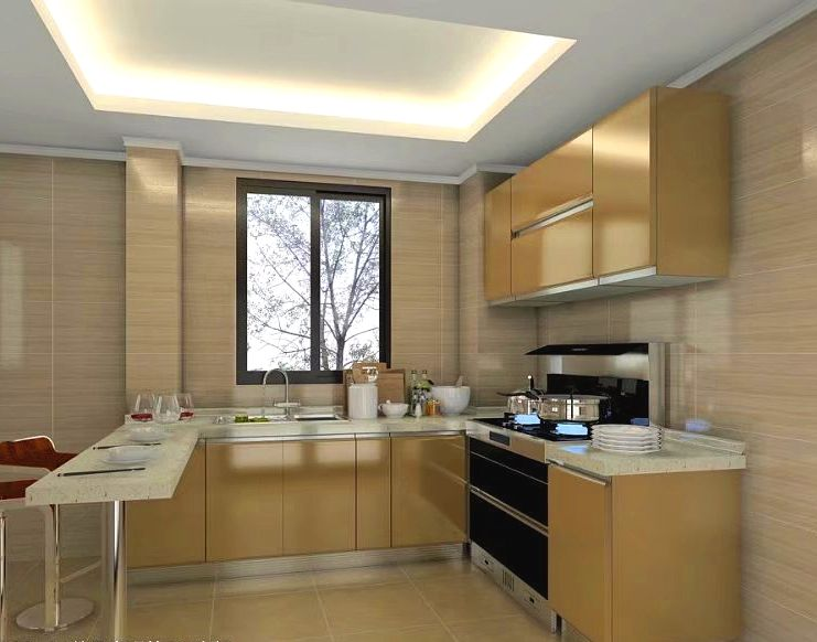 modular glossy lacquer kitchen design flat door ,golden kitchen design