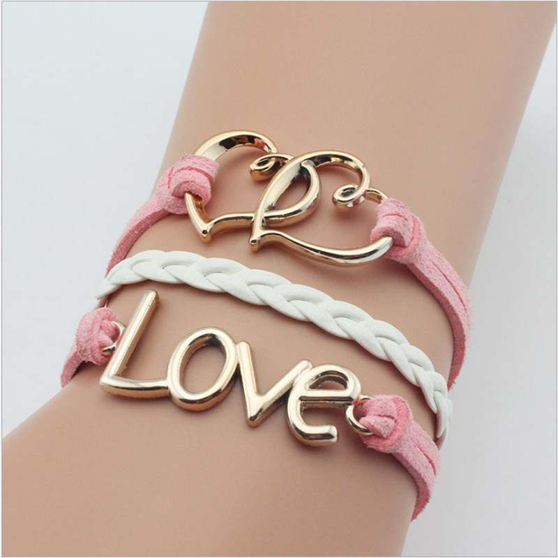 Wholesale simple fashion vintage leather woven love bracelet pink color women bracelet