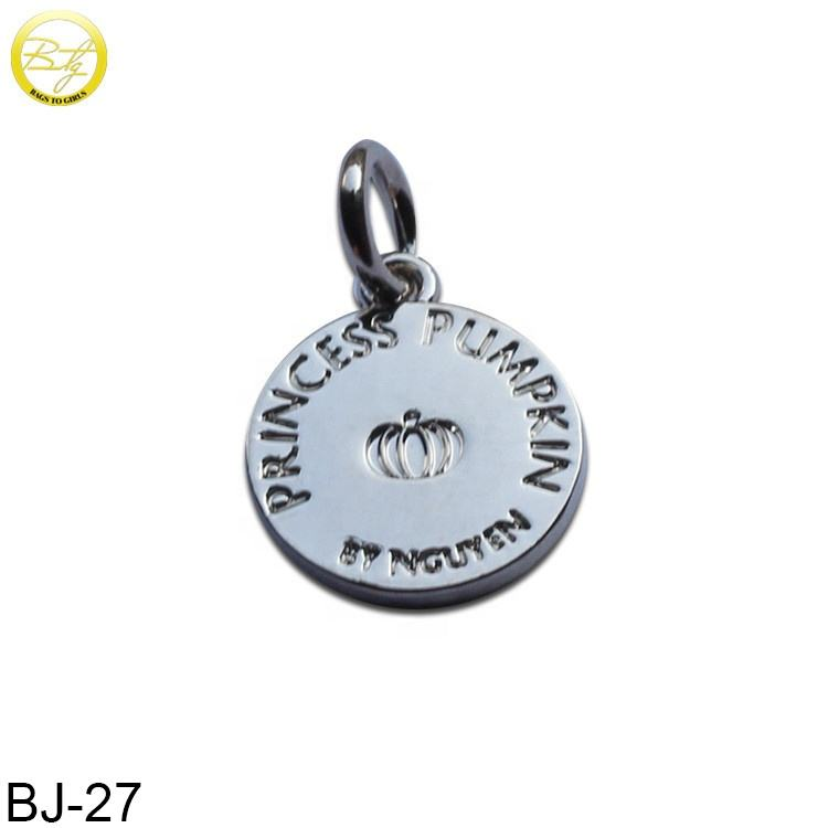 Custom one hole small engraved logo metal jewelry tags pendant charms for bracelet