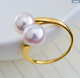 7-7.5mm AAA white natural high quality luxury akoya 18k gold pearl ring, 2 pearl ring