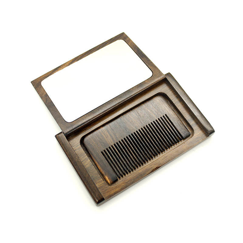Special Design Single Side Wood Compact Pocket Mirror with Comb