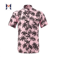 SHORT SLEEVE PINK COLOR NEW FASION DESIGN DIGITAL PRINT HAWAIIAN STYLE Viscose Shirt Mens