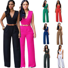 2019 European and American Women Jumpsuit Fashion Siamese Trousers Loose Slim Casual Wide Leg Jumpsuit