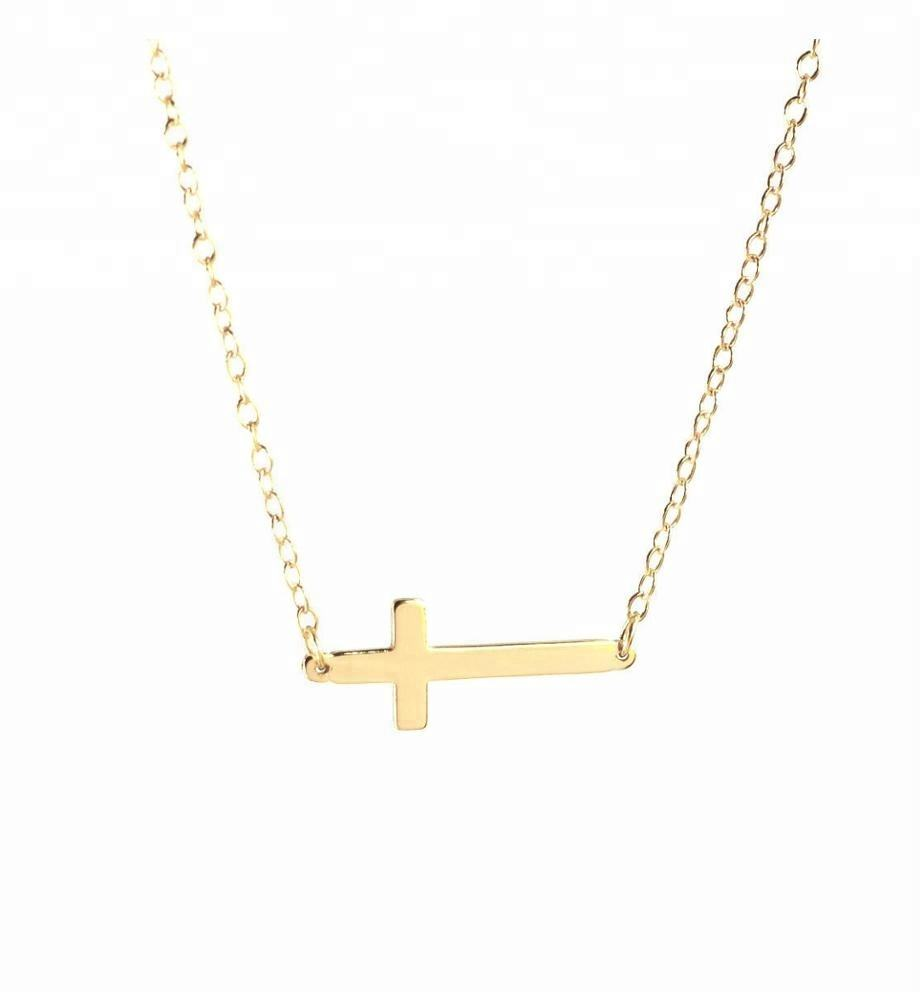Personalized Tiny Gold Sideways Cross Charm 925 Sterling Silver Necklace