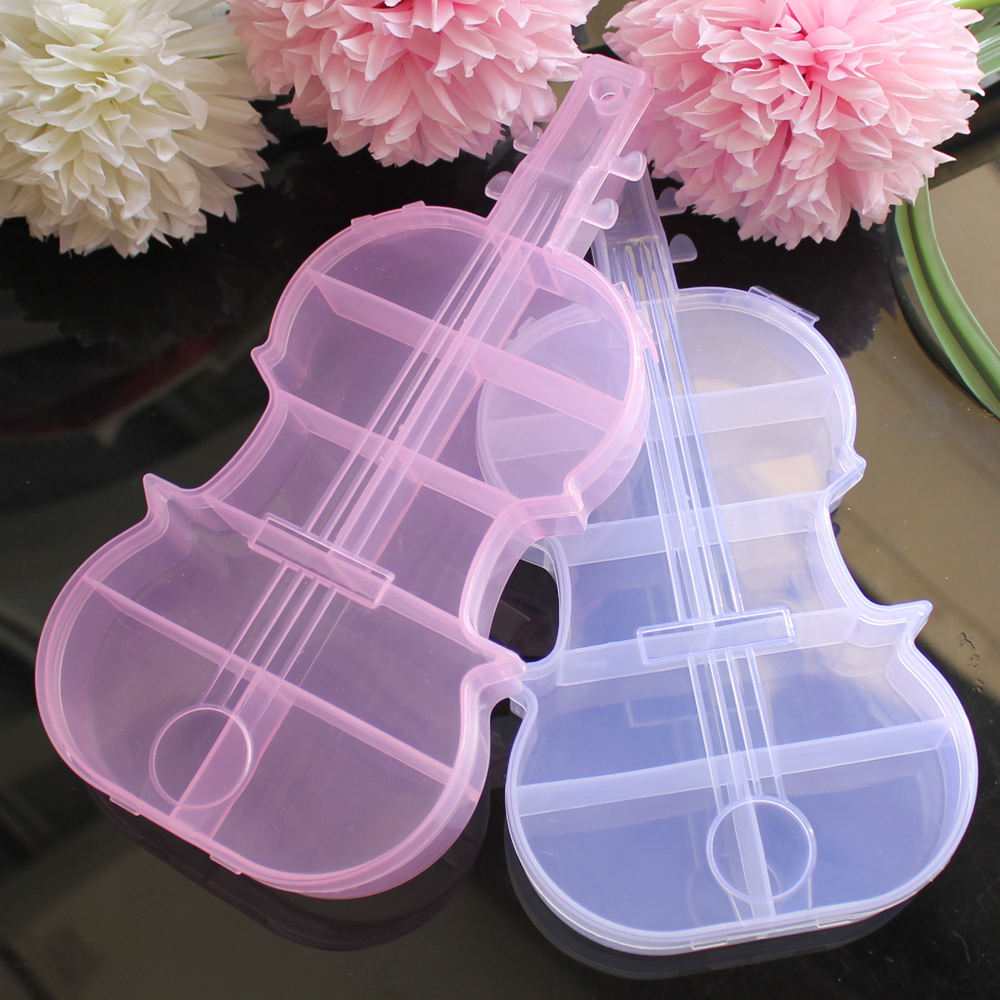 2.5*11*22CM Lovely Pink/Clear Plastic Violin Shaped Jewelry Bead Storage Boxes 2PCS