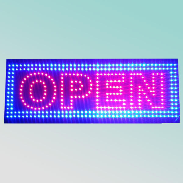 super bright 33X90X6cm length high bright one face metal flashing outdoor led open sign
