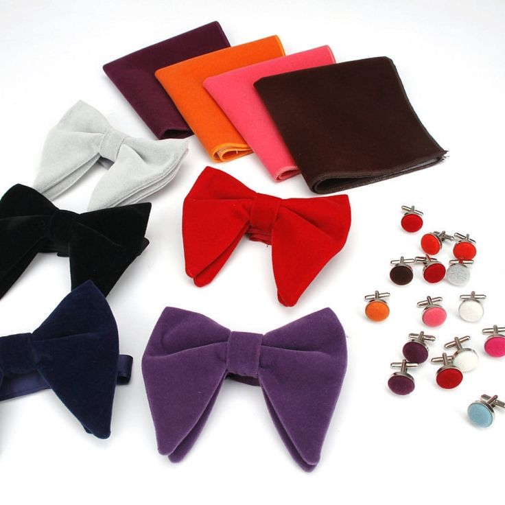 Men's Accessories Oversized Velvet Bow Tie With Pocket Square & Cufflinks Butterfly Bowties