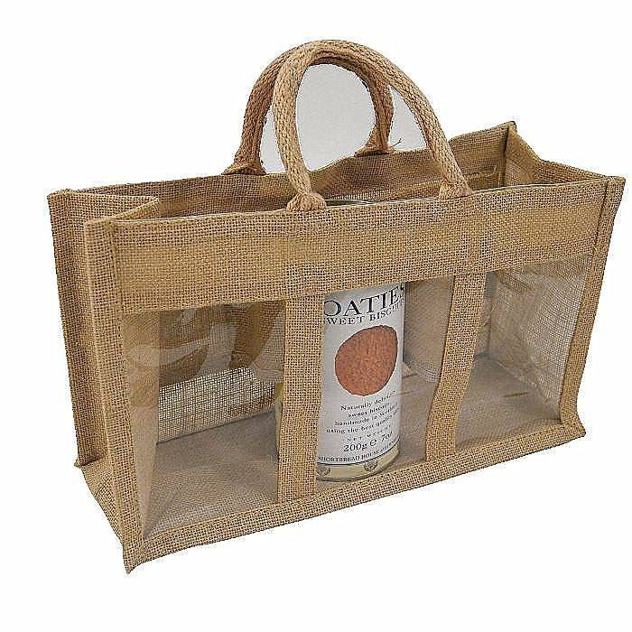 Wholesale cheap printed laminated natural jute bag with window
