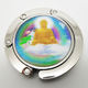 custom epoxy color sticker Buddha logo folding portable purse table hook handbag bag hanger holder