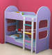 China Wholesale Safety Purple Kids Wood Car Bunk Bed with Stairs